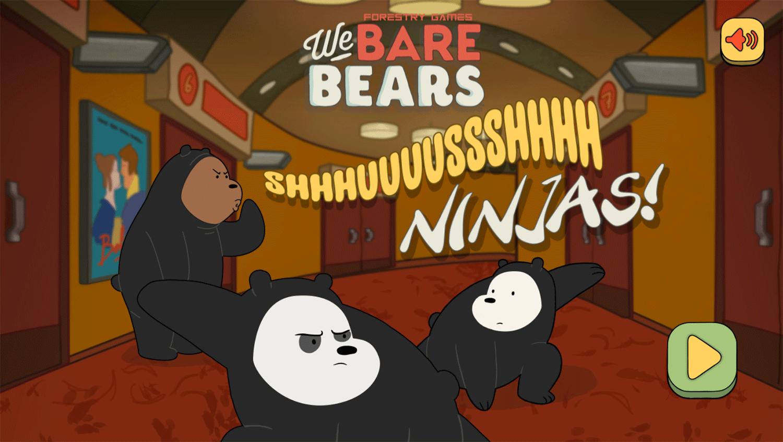 We Bare Bears Shush Ninjas Welcome Screen Screenshot.