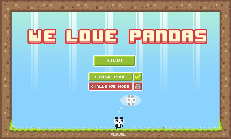 We Love Pandas Game Welcome Screen Screenshot.