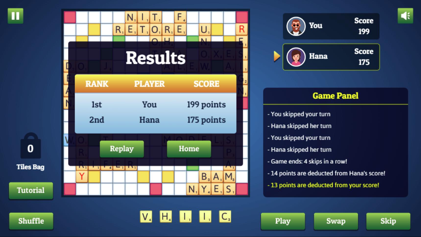Wordmeister Game Over Screen Screenshot.