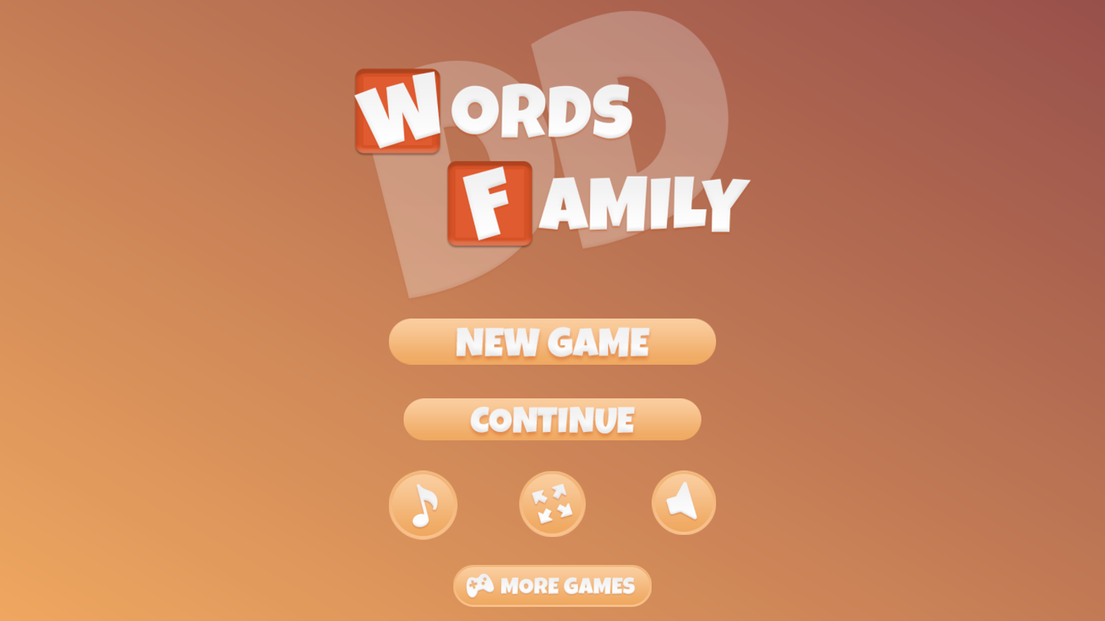 Words Family Game Welcome Screenshot.
