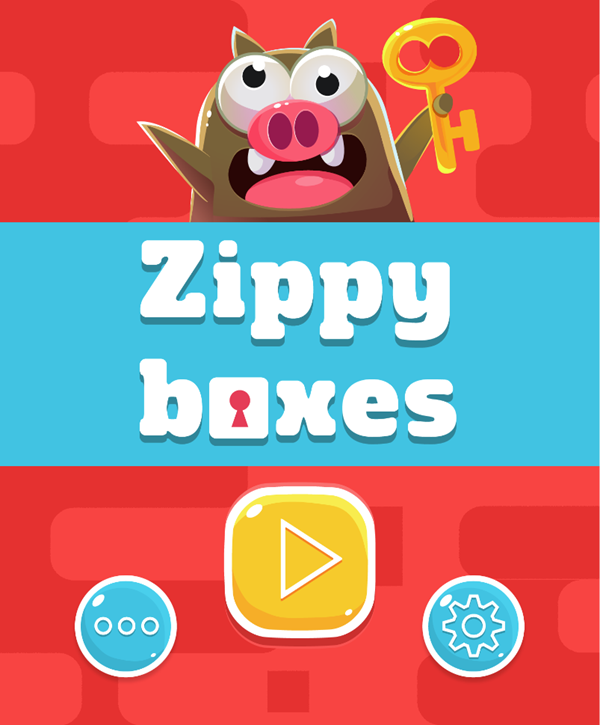 Zippy Boxes Game Welcome Screen Screenshot.
