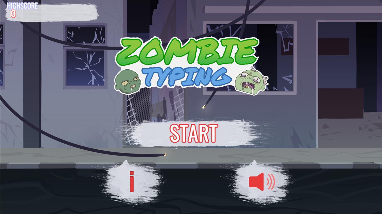 Zombie Typing Welcome Screen Screenshot.