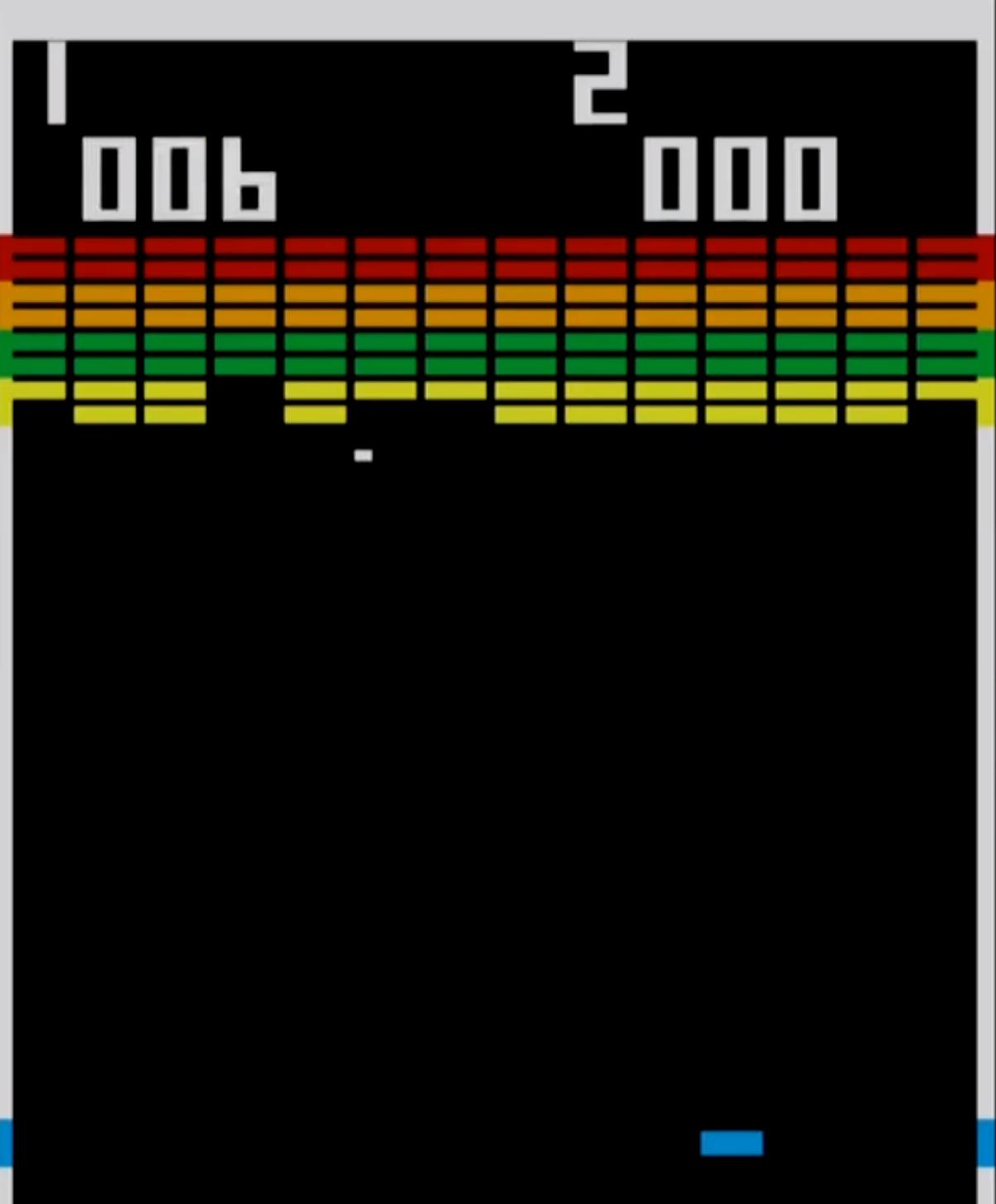 screenshot of the original breakout arcade game.