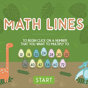 Dino Math Lines Multiplication.