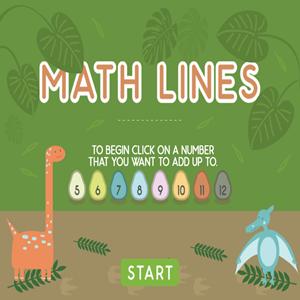 Dino Math Lines Addition.